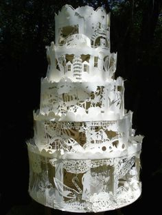Cut paper Art. paper craft, layer cakes, paper art, wedding cakes, papers, art sculptures, cut paper, paper sculptures, art cakes