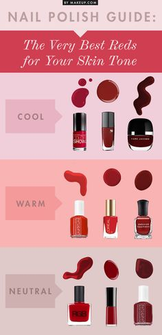 Find the best red polish for your skin tone. Quick tips: Cool tones look better against silver jewelry and the veins in your forearm have a bluish tinge. For warm tones: gold jewelry, green tinge. Last test: Against a white cloth, warm tones look yellowish, cool tones look bluish or pinkish. Mixed results from the tests? You probably have neutral undertones.  | See more at http://www.nailsss.com/french-nails/2/