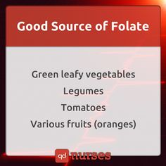 Do you know other good sources of folate? --- Visit http://qdnurses.com/qdmemes for your daily dose of nursing education! --- #nclex #nursing #nclextips #nclex_tips #nurse #nursingschool #nursing_school #nursingstudent #nursing_student