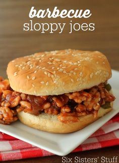 These Barbecue Sloppy Joes make a perfect quick and delicious meal any night of the week! #sixsistersstuff #dinner #recipe
