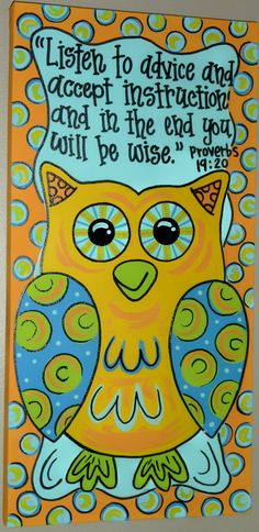 PAINTED OWL CANVAS Super Cute by OnTheBrightSideArt on Etsy, $25.99
