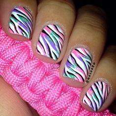 toe, rainbow zebra nails, nail zebra, zebra nauls, difficult nail designs, nails design rainbow, nail nailart, zebra print, stripe