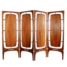 8' American 4-panel walnut hinged screen