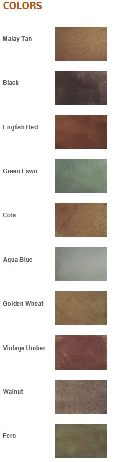 Sedona Acid Stain's offered by SS Specialties includes 10 coloring options.