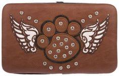 Brown Studded Rhinestone Winged Paw Print Cross Flat Wallet - http://handbagscouture.net/brands/private-label/brown-studded-rhinestone-winged-paw-print-cross-flat-wallet-3/