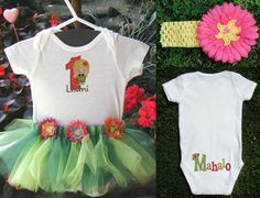 Hawaiian Hula Girl Birthday Onsie Tutu Outfit with by stinkychic, $31.00