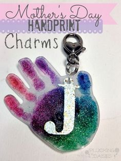 Mother's Day Craft for Kids {Hand Print Charmsusing shrink plastic}