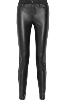 McQ Alexander McQueen Faux leather-paneled mid-rise skinny jeans   THE OUTNET