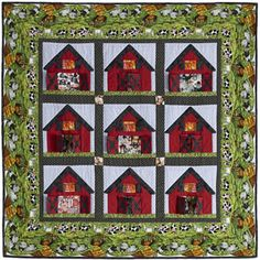 Baby Barnyard  Quilt Designed by Heidi Pridemore  Made by Kathy Norton. Machine Quilted by Doris Pridemore.    Farm animals peek out from 3-D barn doors to surprise youngsters.