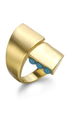 Ring with Turquoise Stones & Yellow Gold.