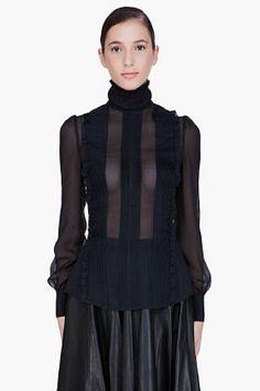 McQ Alexander McQueen black sheer victorian blouse for women   SSENSE