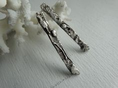 Torched up funky stick earrings in solid sterling silver by JoDeneMoneuseJewelry, $35.00