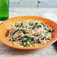 Agile e Olio with Farro a Spaghetti, Kale & Hazelnut Breadcrumbs