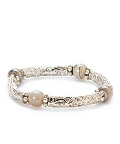 This Gray Agate & Silver Filigree Stretch Bracelet is perfect! #zulilyfinds