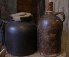 Great brown early stoneware crocks!