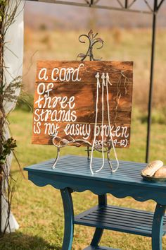 Good way to display the three cords tied at the ceremony
