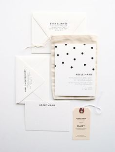 Black and white polka dot stationery suite