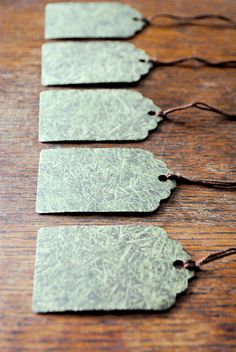 5 Handmade Gift Tags - The Grass is Greener, Limited Edition. From oneteninprint at Etsy £3.50
