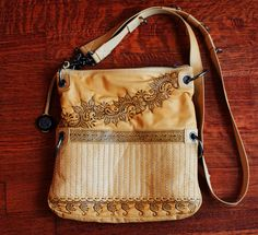 Yellow henna inspired pyrography burned leather by NewWorldHenna, $60.00