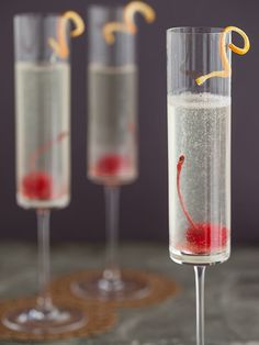 Bubbly French 75 Cocktail - Mix 1 oz. vodka, 1 T lemon juice, 1 t superfine sugar and strain into a champagne flute. Top with champagne and garnish with a marachino cherry and orange or lemon twist.