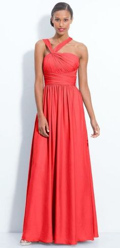 Bright colors like coral can work as long dresses too! Just keep accessories simple.