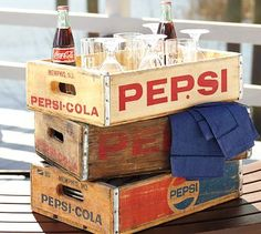 Love these crates! Gotta find one of these. coke, backyard parties, pepsi cola, soft drinks, soda, old crates, pottery barn, pepsi crate, vintage decor