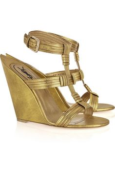 Yves Saint Laurent Venice leather sculpted-wedge sandals 2011 #shoes #gold #YSL