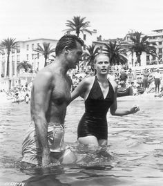 """Cary Grant and Grace Kelly while filming """"To Catch a Thief"""""""