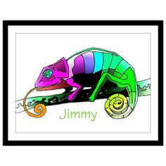Colorful Chameleon Art Print Personalized