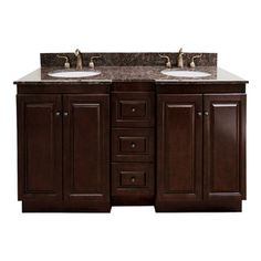 Natural Granite Top 60 inch Double Sink Bathroom Vanity in Dark Walnut Finish  DINING ROOM BATHROOM