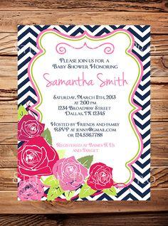 Baby shower invitation, Roses baby shower Invitation, boy, girl, Baby Shower Invite, pink, navy blue, digital, printable file. $20.00, via Etsy.