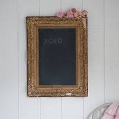 Easily Made With An Old Antique Frame And Some Chalk Paint.  Other Option Would Be To Install A Cork Board And Cover With Burlap To Make A Memory Board/Bulletin Board.