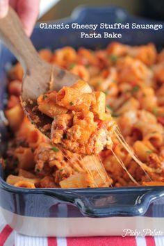 Classic Cheesy Stuffed Sausage Pasta Bake by Picky Palate #pasta #dinner