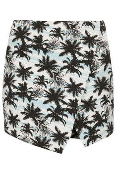 skirt, short, palm print, blue palm, print jacquard