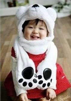 Polar Bear Animal Hat Muffler with Mittens