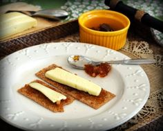 A typical Finnish breakfast, Finn Crisp with Marmalade & Cheese.