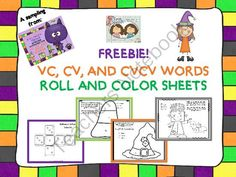 FREEBIE! Halloween-Themed Apraxia Exercises: VC, CV AND CVCV WORDS from Twin Speech, Language & Literacy LLC on TeachersNotebook.com -  (8 pages)  - Hello friends. We welcome you to enjoy the super cute and pre-k Halloween world of friendly ghosts, pumpkins and smiling silly monsters by using these Halloween-themed roll, color and say worksheets.