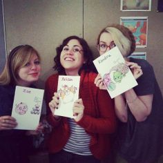 Zoe, Melissa, and Kendra (and Aaron, not pictured) got some lovely hand-drawn Christmas cards from Squishy fan Ashley T.! So awesome! Thanks Ashley!