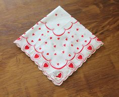 Vintage Handkerchiefs with Hearts on Etsy, $8.00