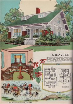 "1920s American Residential Architecture - 1925 American Builder Magazine House Plans - Craftsman Style Bungalow - Idaville ""Popular Western bungalow design with wide cornice and exposed rafters. Seven rooms and bath. Half of the big front porch is enclosed for a sunroom. Color sketch ... suggests good furnishings for this sunroom."""