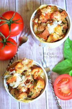 Savory Tomato Basil Bread Pudding from willcookforsmiles.com #beadpudding #breakfast #brunch