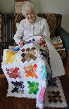 "Richard and Tanya Quilts: Granny has some Granny's;  I'd like to make one of these.... Using scraps left over from each completed quilt to make each square.... so I could look back and say ""oh that was the quilt I made for so and so"" I think it would be great memories."
