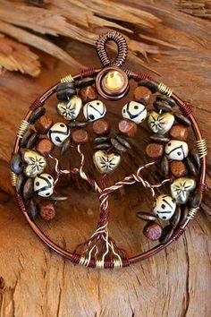 Crystal wire wrap jewelry Tree of life