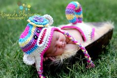 Sock Monkey Hat Baby Photo Prop Photography & Diaper Cover Tail Crochet