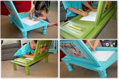 Children's art desks are made from cupboard doors.  The desks are made of two cupboard doors and features a hidden space for art inside of them. The main door of each desk has a hinge so it can be opened by a kid. The legs are removable so desks can be stored in super slim areas.,, Love these!