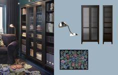 Billy biblioth ques brun noir avec portes en verre tremp et grundtal claira - Vitrine en verre ikea ...