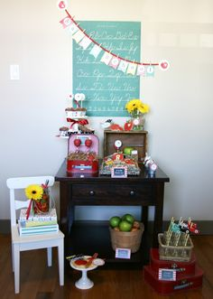 back to school party table by totful memories