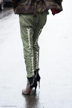 Sarah Rutson in Men's Cargo Pants #streetstyle #fashion #sarahrutson #MFW   Gastro Chic