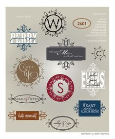 DIGITAL DOWNLOAD ... decorative monogram vectors for vinyl lettering graphics @ My Vinyl Designer (www.myvinyldesign...)
