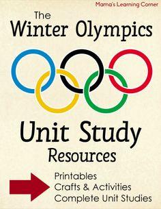 Winter Olympics -  Unit Study Resources (Printables, Complete Unit Studies, fun crafts & activities)